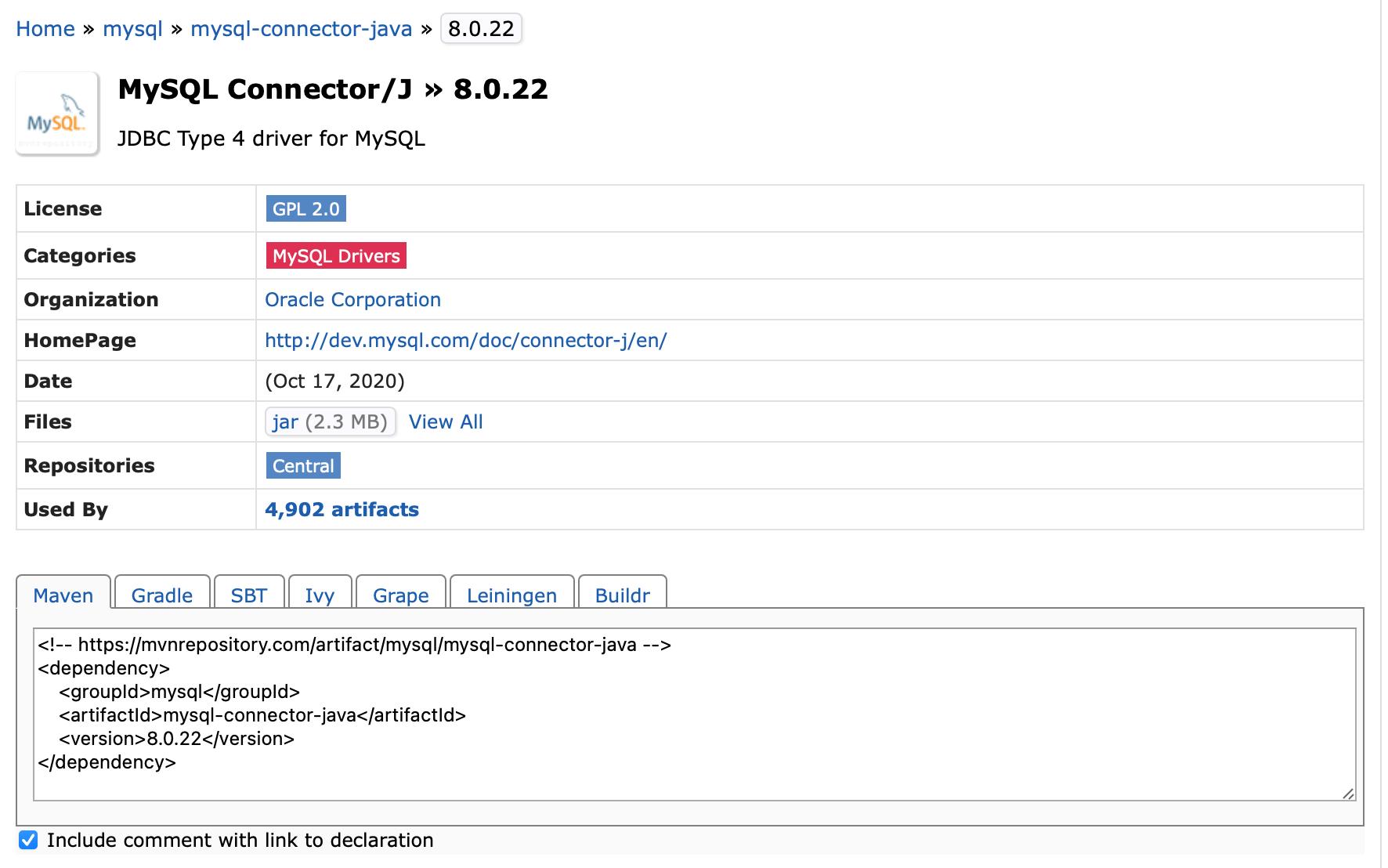 查找MySQL的具体依赖坐标